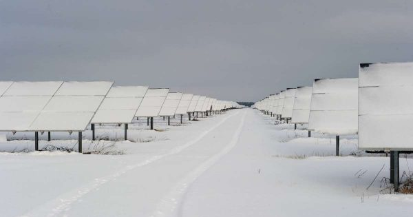 Solar panels in the German freeze